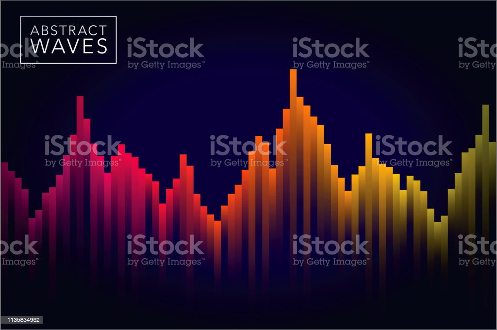 Abstract Sound Wave Background vector art illustration