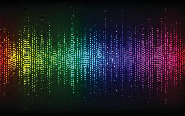 Abstract Sound Wave Background.Digital energy sound music equalizer with colored rainbow lights backdrop.Vector illustration EPS 10 vector art illustration
