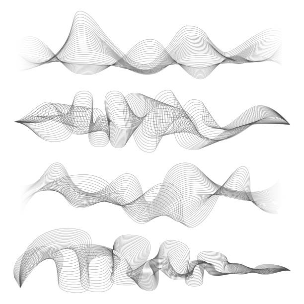 abstract sound waves isolated on white background. digital music signal soundwave shapes vector illustration - sound wave stock illustrations, clip art, cartoons, & icons