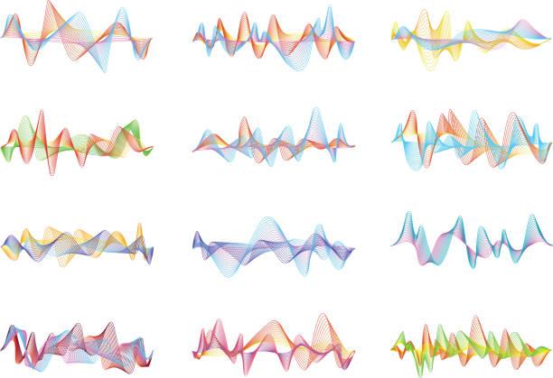 abstrakte schallwellen. sprache oder musik digitale visualisierungen für equalizer panels - sound wave grafiken stock-grafiken, -clipart, -cartoons und -symbole
