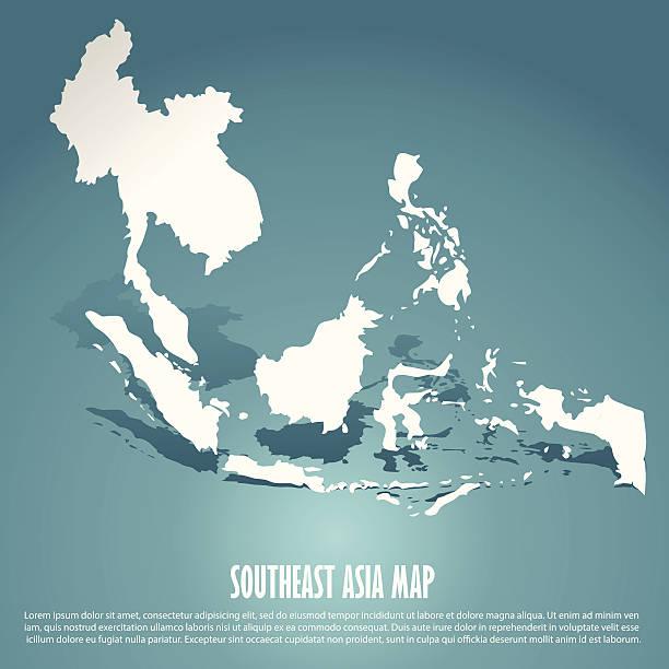 stockillustraties, clipart, cartoons en iconen met abstract southeast asia map - zuidoost azië