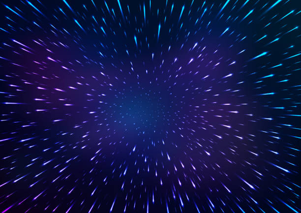 abstract space background. flying through hyperspace. vector illustration - jumping stock illustrations