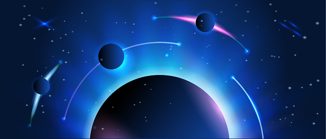 Abstract space banner. Earth and planets with stars on the background. Astronomy and science.