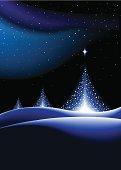 Stylised Christmas trees shining brightly on a snowy horizon.
