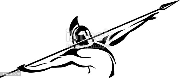 Isolated vector illustration of Medieval Soldier Spear Thrower