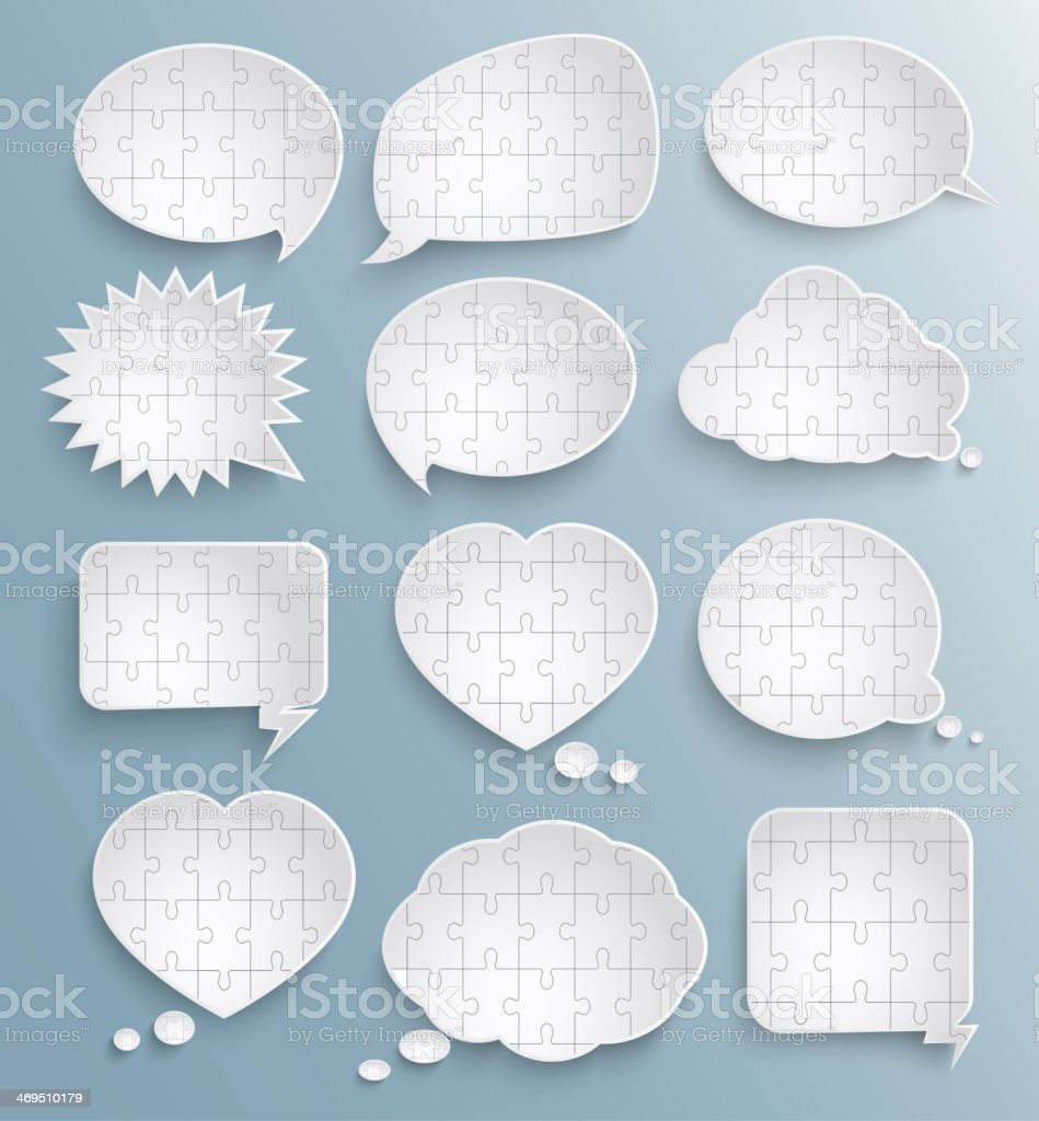 Abstract speech bubbles with pieces of paper puzzles royalty-free stock vector art