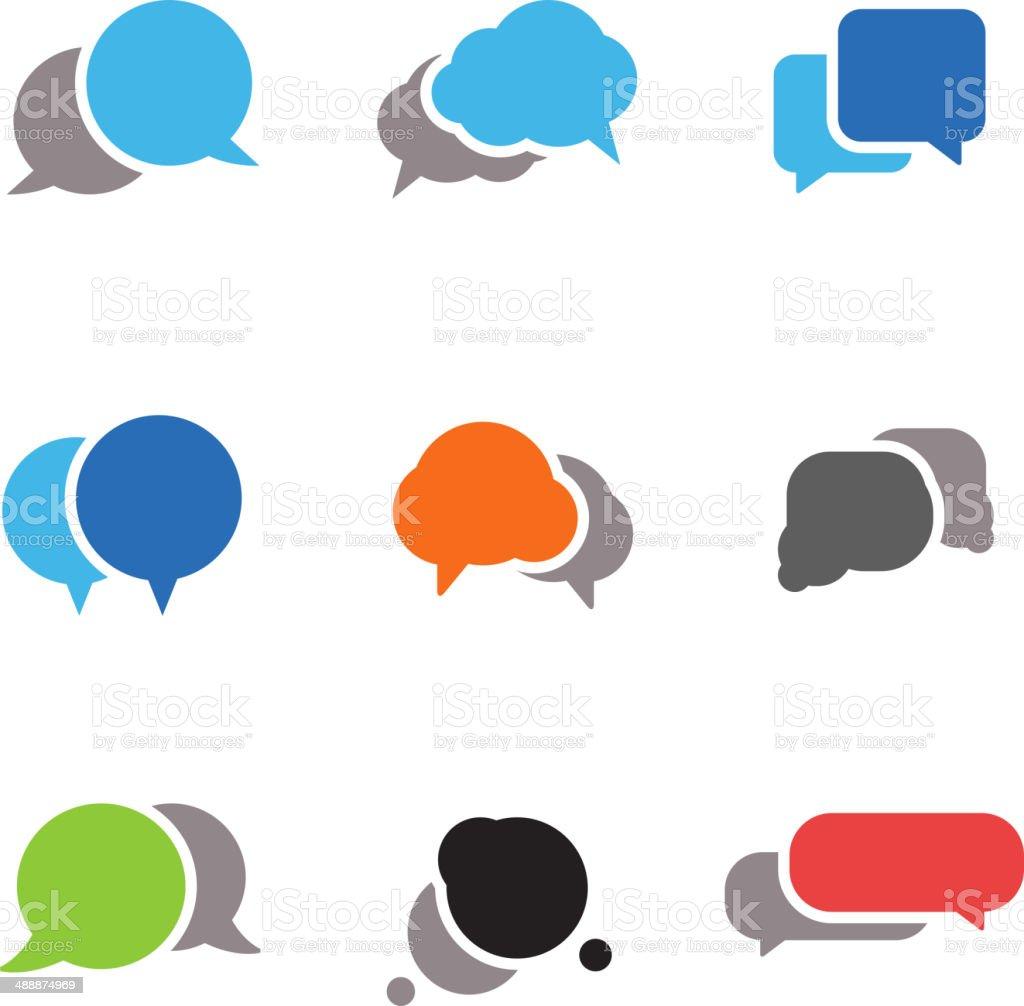 Abstract speech clouds vector art illustration