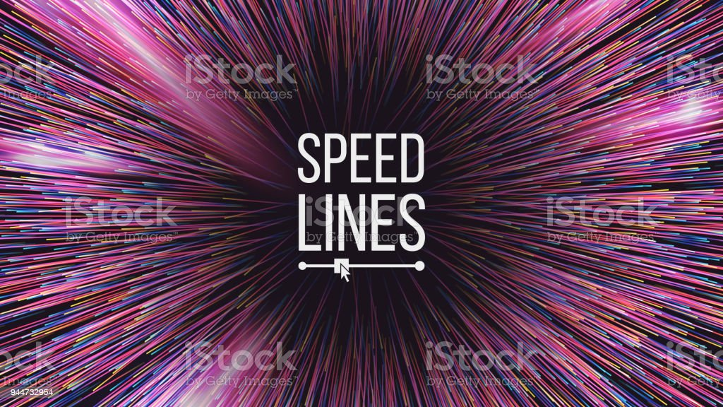 Abstract Speed Lines Vector. Motion Effect. Motion Background. Glowing Neon Composition. Illustration vector art illustration