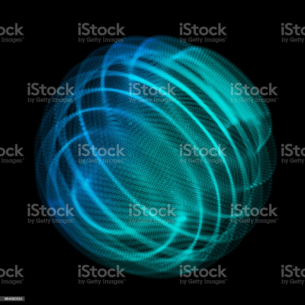 Abstract sphere blue points array. Grid vector illustration. Technology digital noise of data points. Spherical 3d waveform. vector art illustration