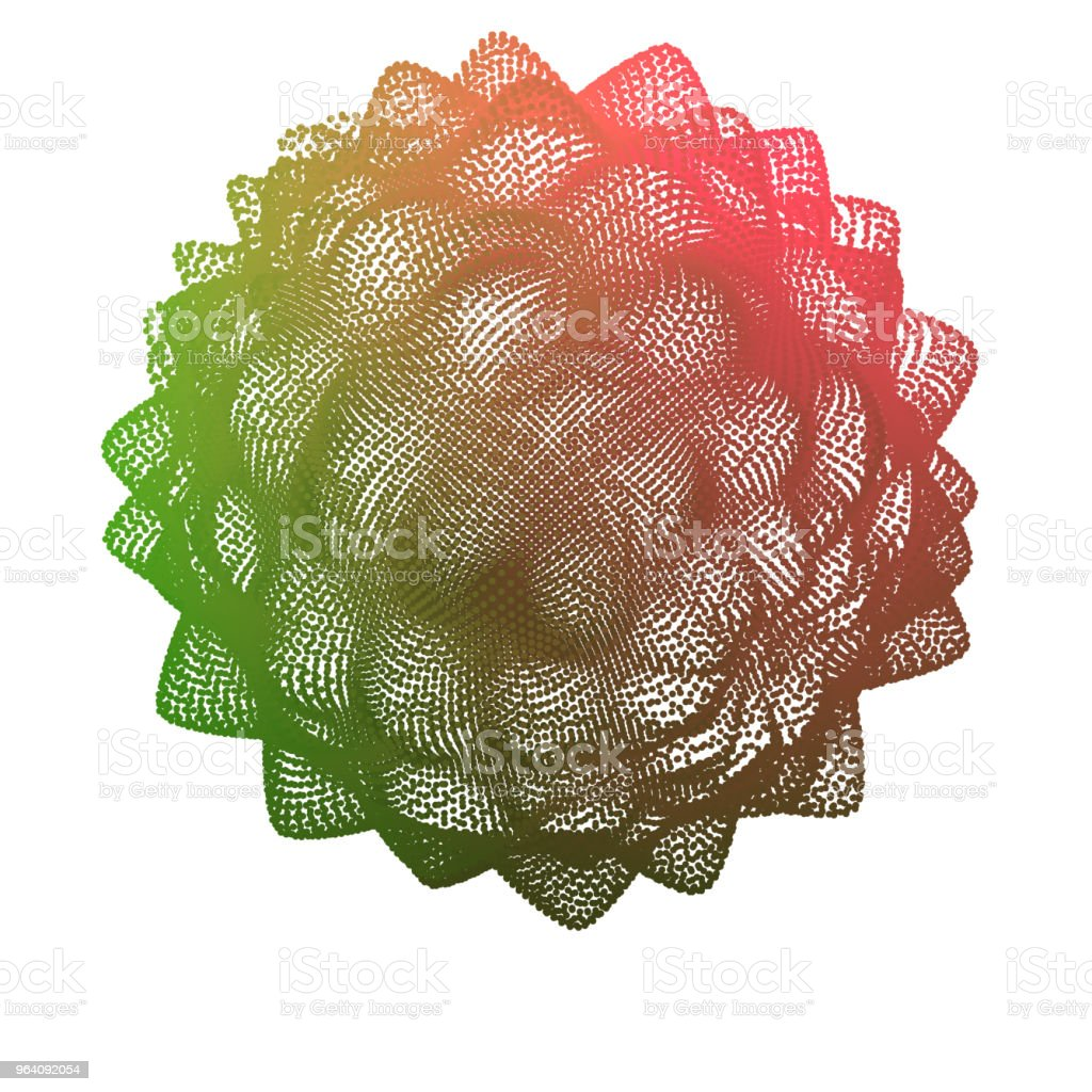 Abstract sphere of color points array. Grid vector illustration. Technology digital noise of data points. Spherical 3d waveform. - Royalty-free Abstract stock vector