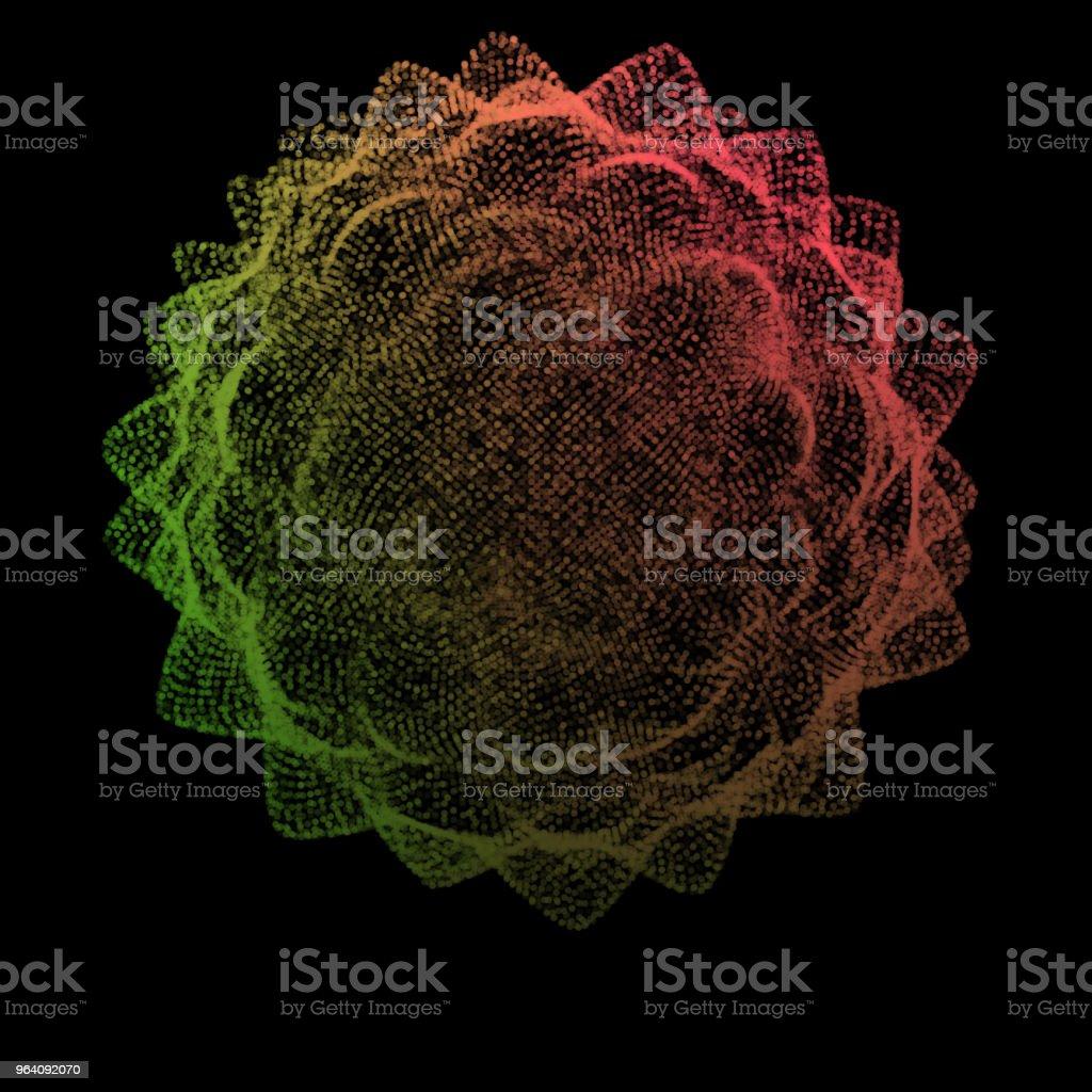 Abstract sphere of noise points array. Grid vector illustration. Technology digital noise of data points. Spherical 3d waveform. vector art illustration