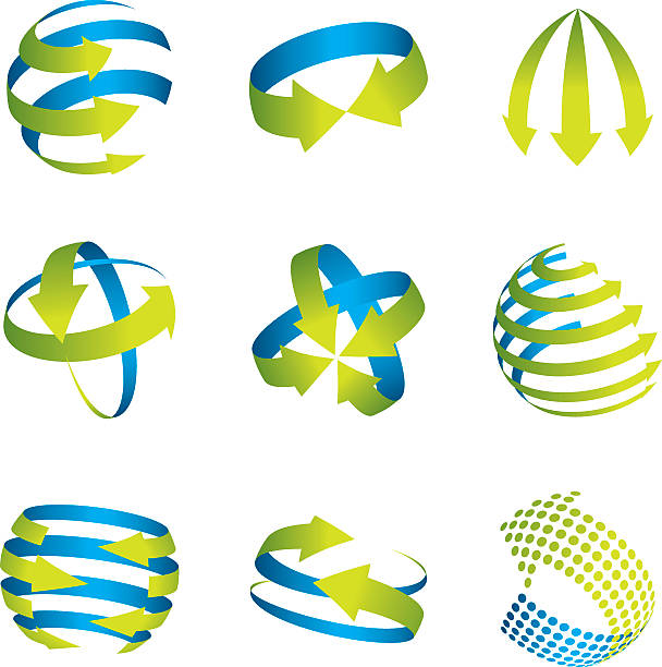 abstract spherical arrow icons. - acute angle stock illustrations
