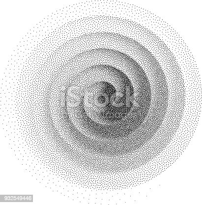 Abstract spiral background. Black and white halftone stipple dots pattern. Eps8. RGB. Global color