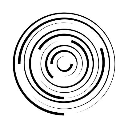 Abstract spiral circle geometric shape. Swirl concentric round background. Vortex pattern.