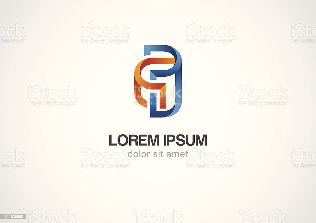 Abstract spiral element, corporate icon. Vector logo template vector art illustration