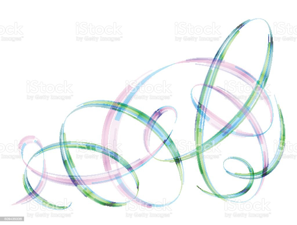 Abstract spiral stripes in form of loops and arcs vector art illustration