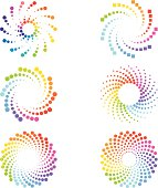 Abstract  multi colored spirals design elements