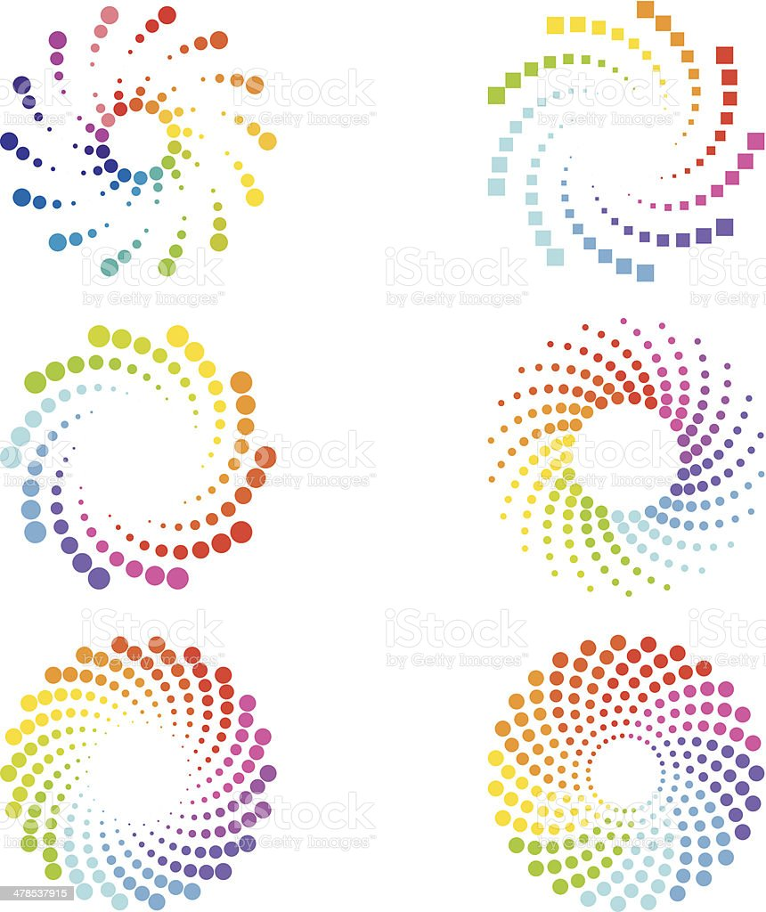 Abstract spirals design elements vector art illustration