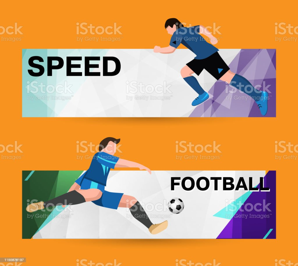Abstract sport banner on a light bright background. soccer Players in...