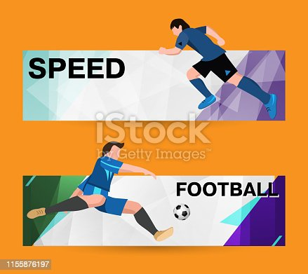 istock Abstract sport banner on a light bright background. soccer Players in sport form with the ball. The athlete quickly runs. Template design 1155876197