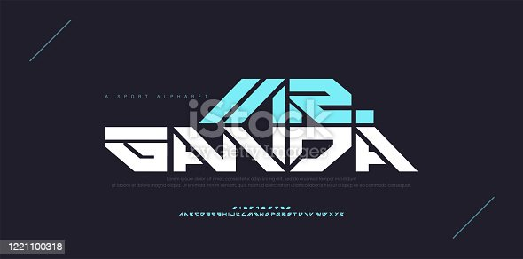 istock Abstract sport modern alphabet fonts. Typography technology electronic dance digital music future creative font. vector illustration 1221100318