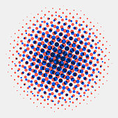 Abstract spotted halftone circles radial blue and orange color on white background. Vector illustration