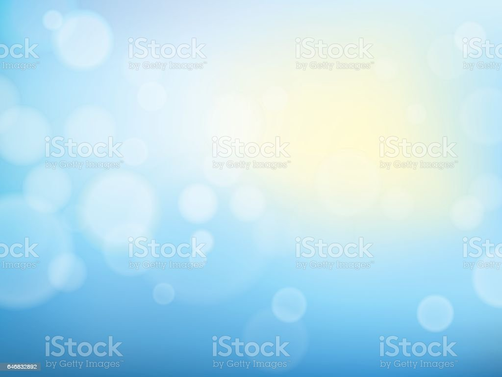 Abstract spring background with blue sky, sun and blurred bokeh lights. vector art illustration