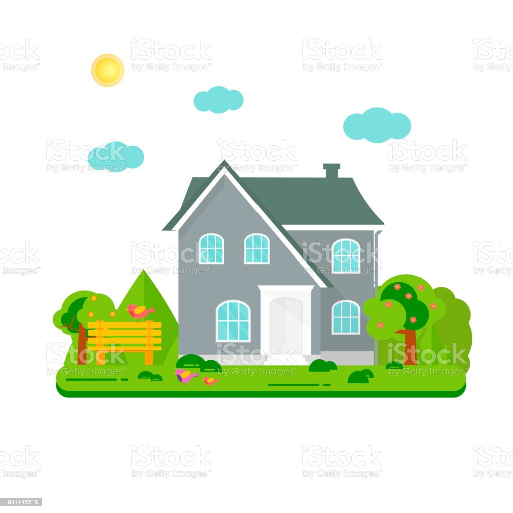 Stupendous Abstract Spring Background With Cozy Home House Cottage With Download Free Architecture Designs Fluibritishbridgeorg