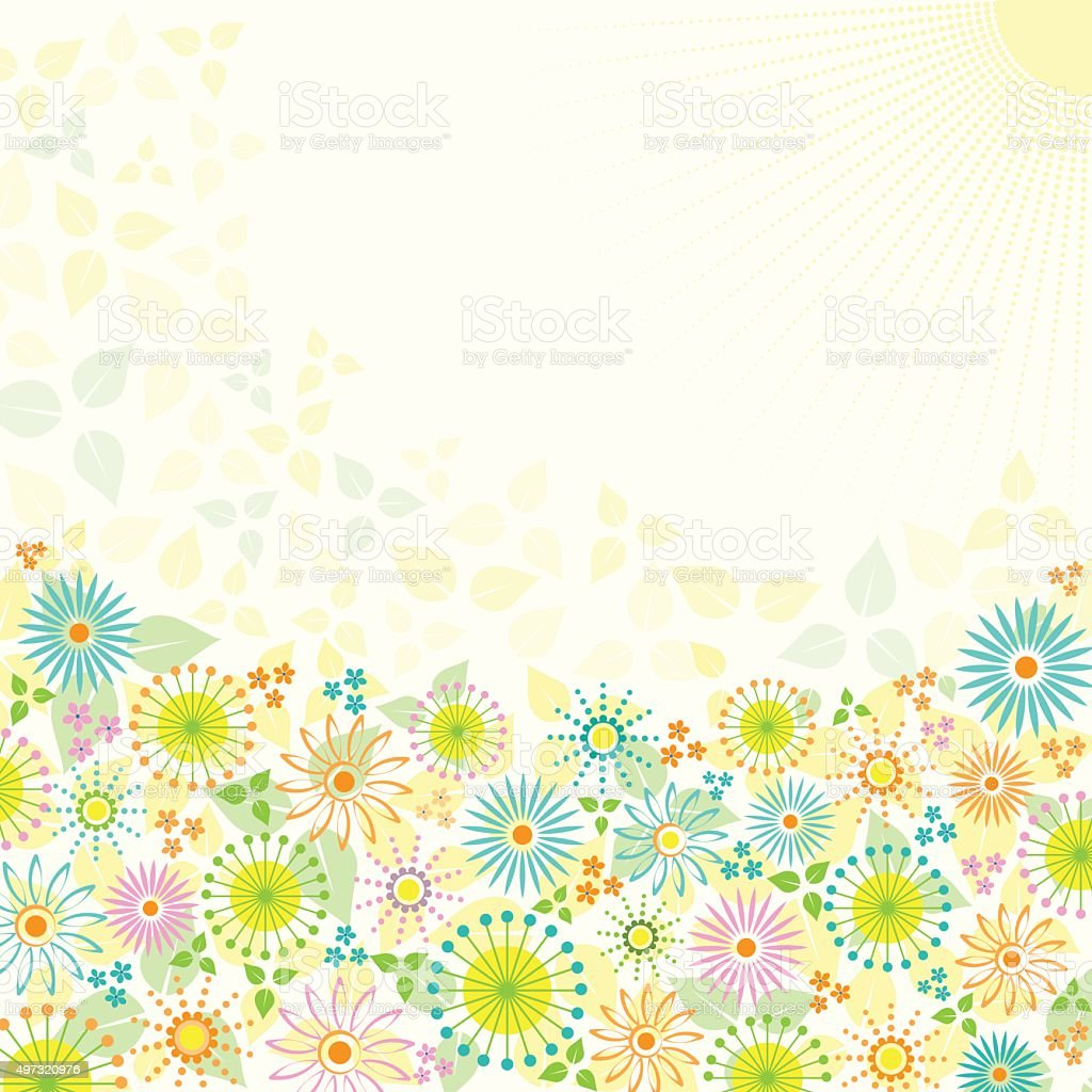 Abstract spring flowers background with the rays of sun stock vector abstract spring flowers background with the rays of sun royalty free abstract spring flowers background mightylinksfo
