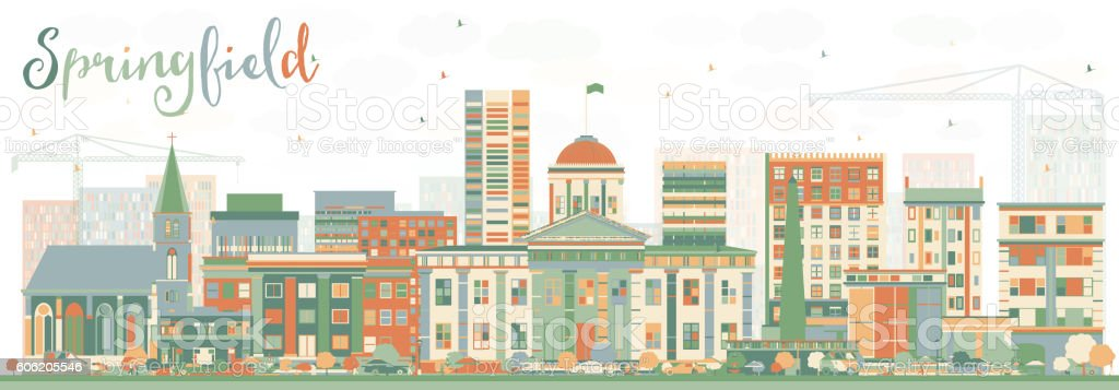 Abstract Springfield Skyline with Color Buildings. vector art illustration