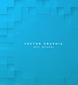 Abstract square blue background, 3d geometric minimalistic cover design, mosaic blocks pattern with copy space. Vector graphic.