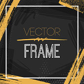Modern gold and black abstract frame vector background illustration for use as background template for birthday, wedding anniversary invitations