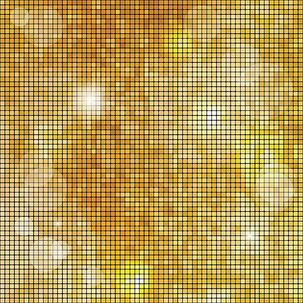 abstrakte square golden mosaik hintergrund. vektor-illustration. - spiegelfliesen stock-grafiken, -clipart, -cartoons und -symbole