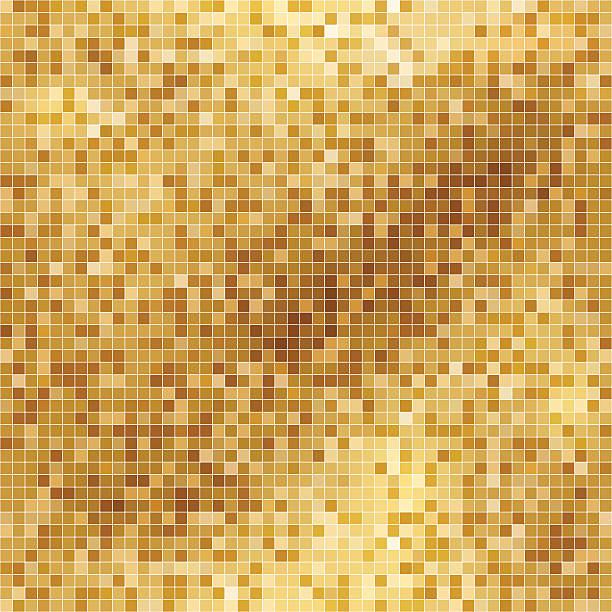 goldene abstrakte quadratische pixel-hintergrund in flachen farben - spiegelfliesen stock-grafiken, -clipart, -cartoons und -symbole