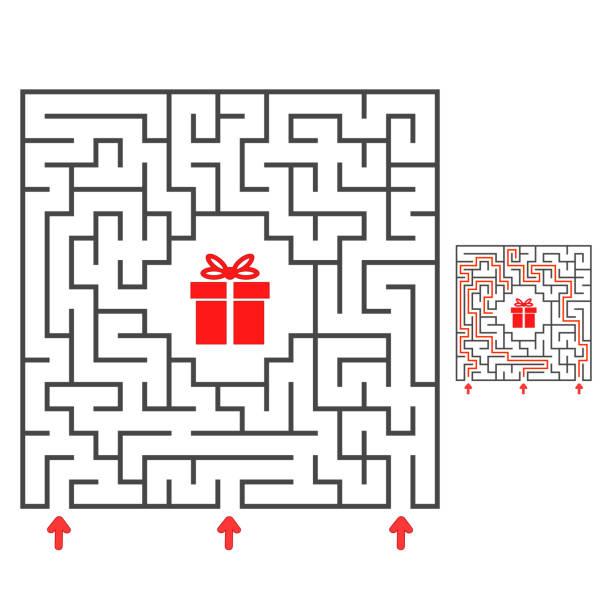 추상 사각형 미로입니다. 은사에 대한 길을 찾는다. 아이들을위한 게임. 아이들을위한 퍼즐. 미로 수수께끼. 흰색 배경에 격리된 플랫 벡터 그림입니다. 대답과 함께. - 미로찾기 stock illustrations