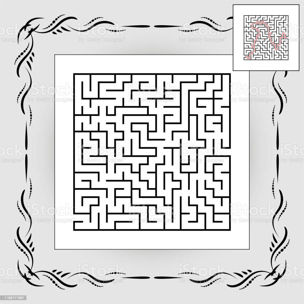Abstract square maze in vintage frame. Game for kids. Puzzle for...