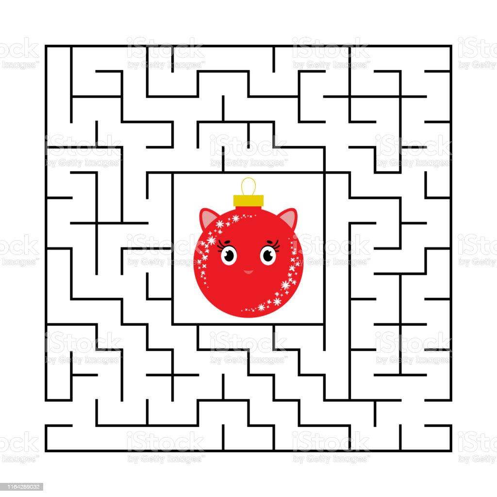 Labyrinthe Carré Abstrait Avec Un Caractère Mignon De Dessin