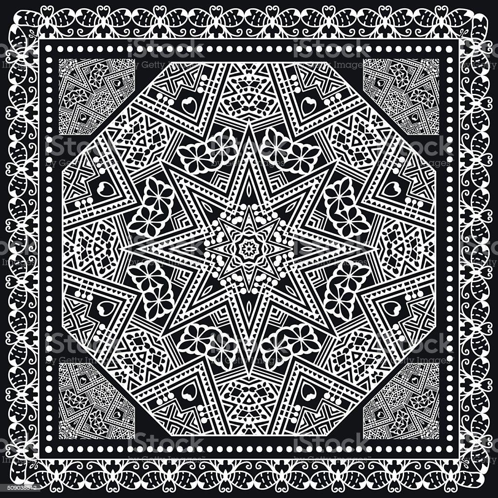 Abstract square pattern with geometric ornament, black bandanna shawl print vector art illustration