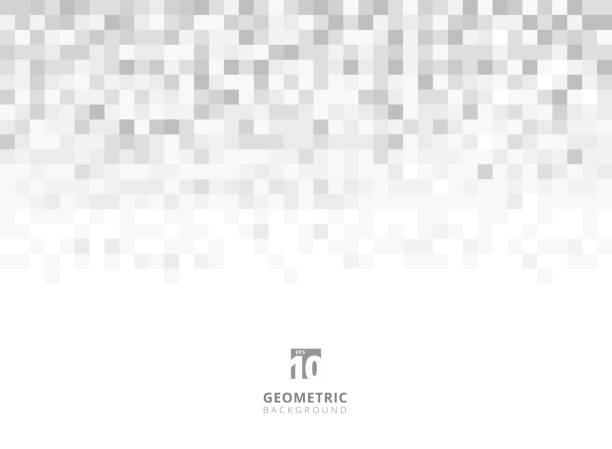 ilustraciones, imágenes clip art, dibujos animados e iconos de stock de resumen plazas geométrica fondo gris y blanco con espacio de copia. pixel, rejilla, mosaico. - fondos mosaicos