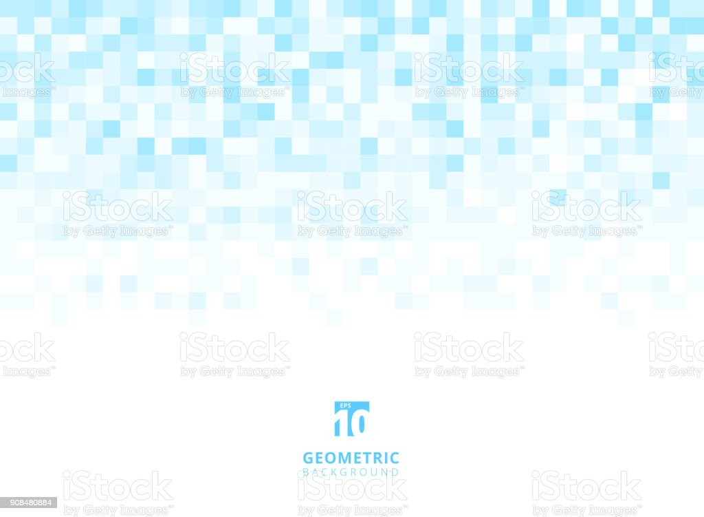 Abstract squares geometric light blue background with copy space. Pixel, Grid, Mosaic. royalty-free abstract squares geometric light blue background with copy space pixel grid mosaic stock illustration - download image now
