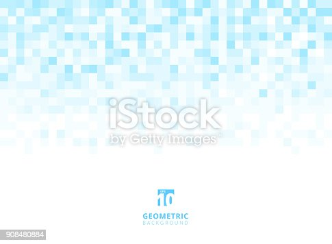 Abstract squares geometric light blue background with copy space. Pixel, Grid, Mosaic. Vector illustration
