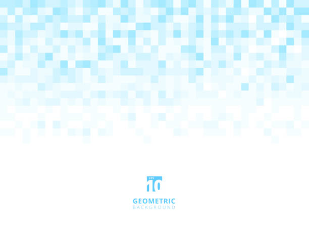 illustrazioni stock, clip art, cartoni animati e icone di tendenza di abstract squares geometric light blue background with copy space. pixel, grid, mosaic. - square