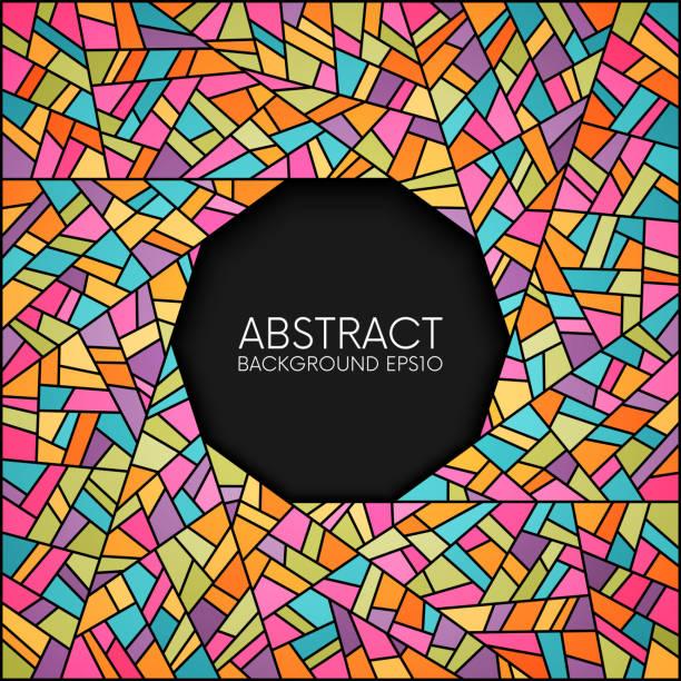 abstrakte glasmalerei kreis frame - mosaikglas stock-grafiken, -clipart, -cartoons und -symbole