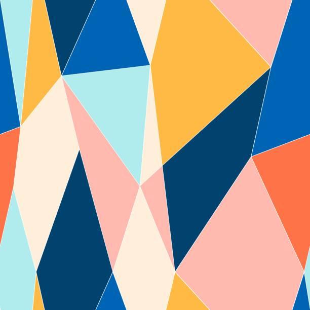 illustrations, cliparts, dessins animés et icônes de modèle sans couture de style vitrail abstrait. modèle polygonal low poly. - abstract mirror