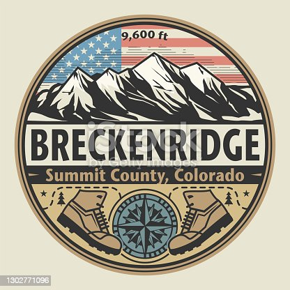 Abstract stamp or emblem with the name of town Breckenridge, Colorado, vector illustration