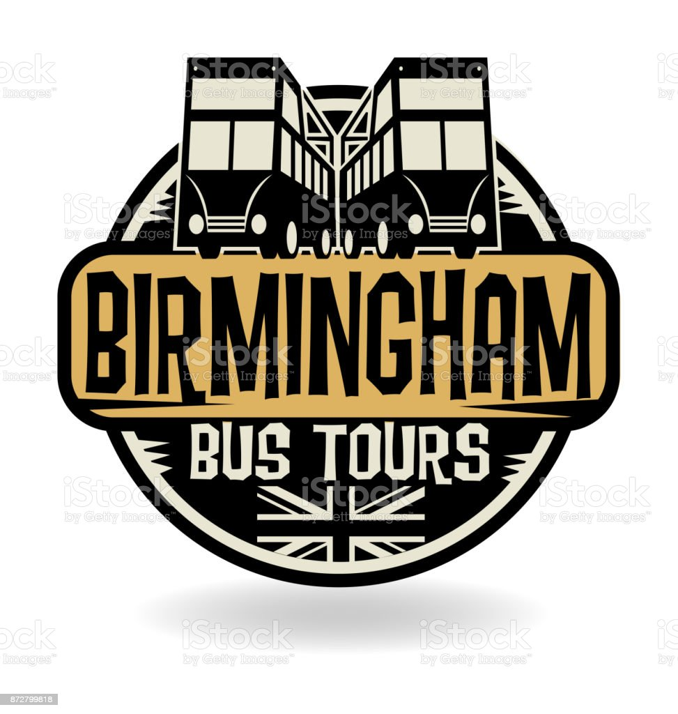 Abstract stamp with text Birmingham, Bus Tours vector art illustration