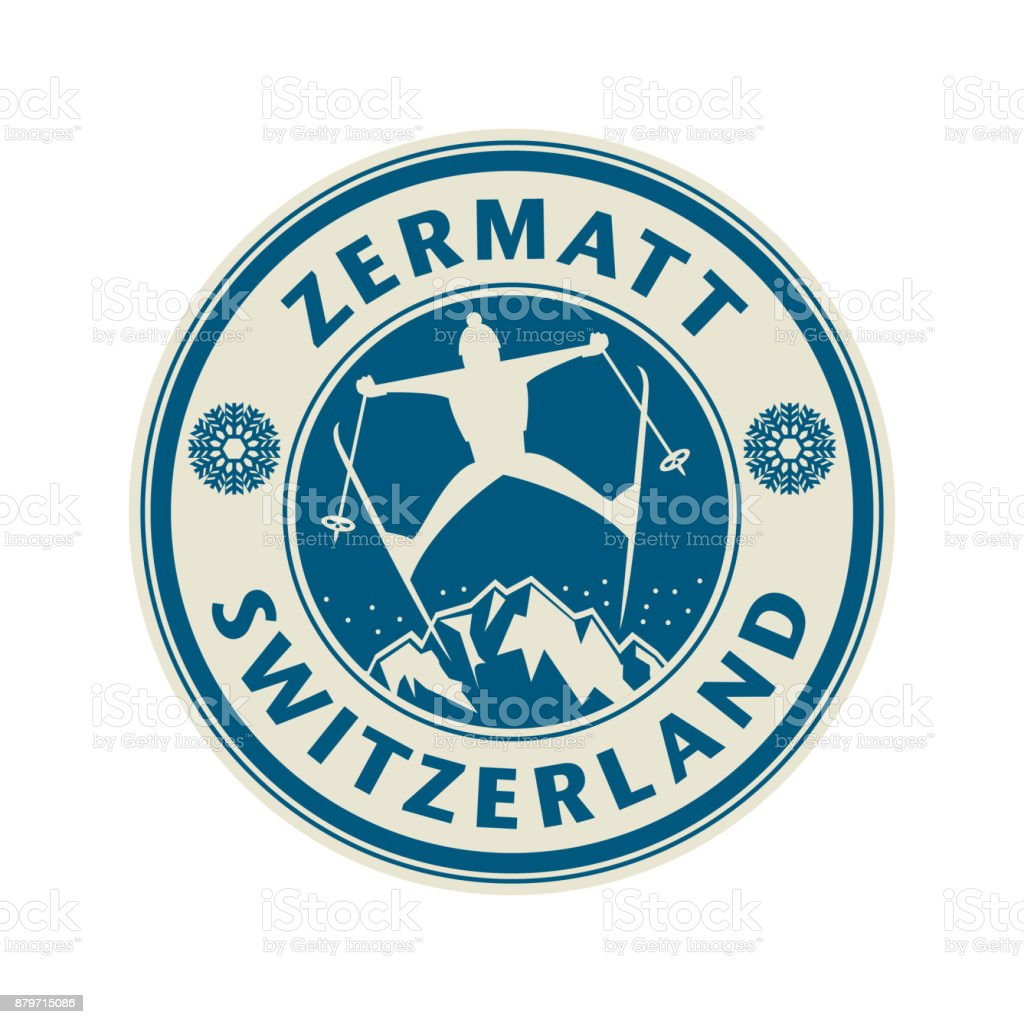 Abstract stamp with the name of town Zermatt in Switzerland vector art illustration