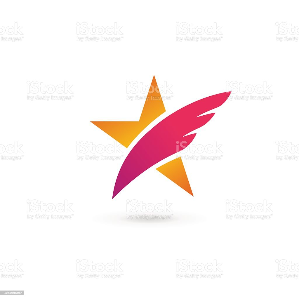 Abstract star wing icon design template elements vector art illustration