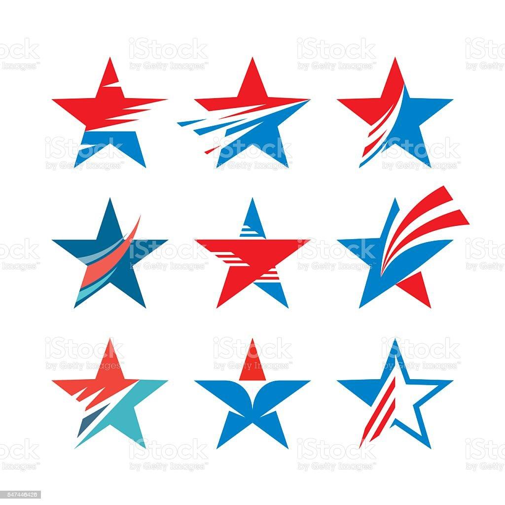 Abstract stars signs - creative vector set. vector art illustration