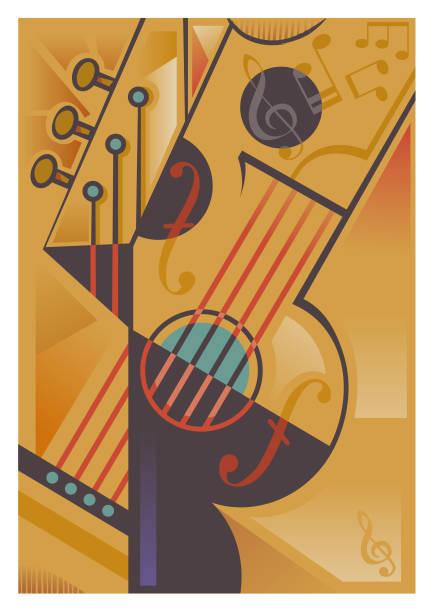 Abstract string instrument illustration vector art illustration